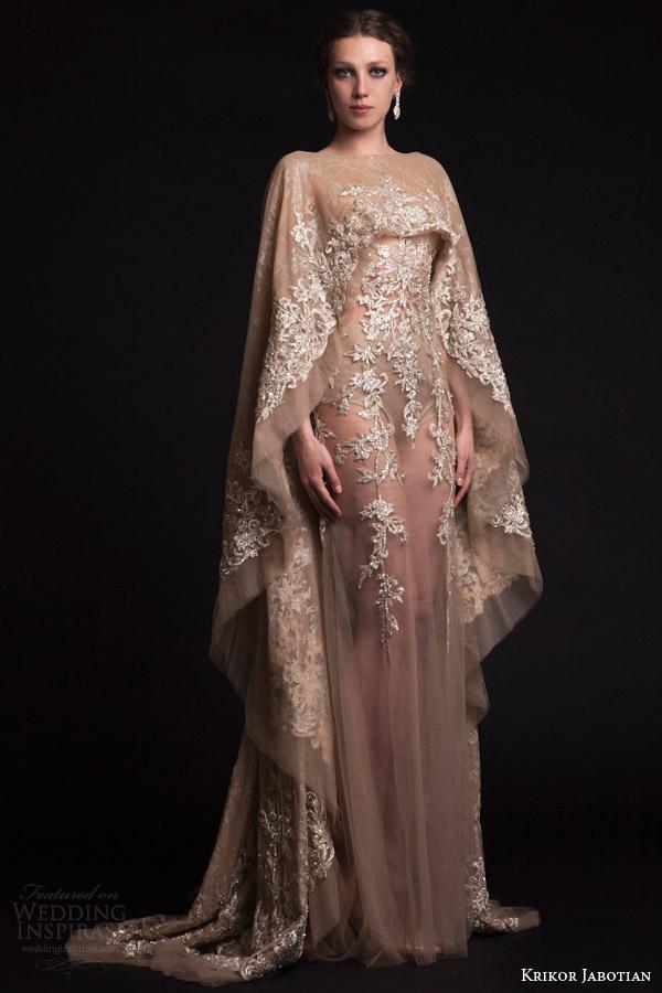 krikor jabotian bridal spring 2015 sheer nude tulle wedding dress cape sleeves train