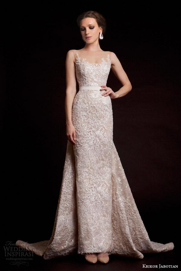 krikor jabotian bridal spring 2015 sleeveless column wedding dress illusion neckline front view