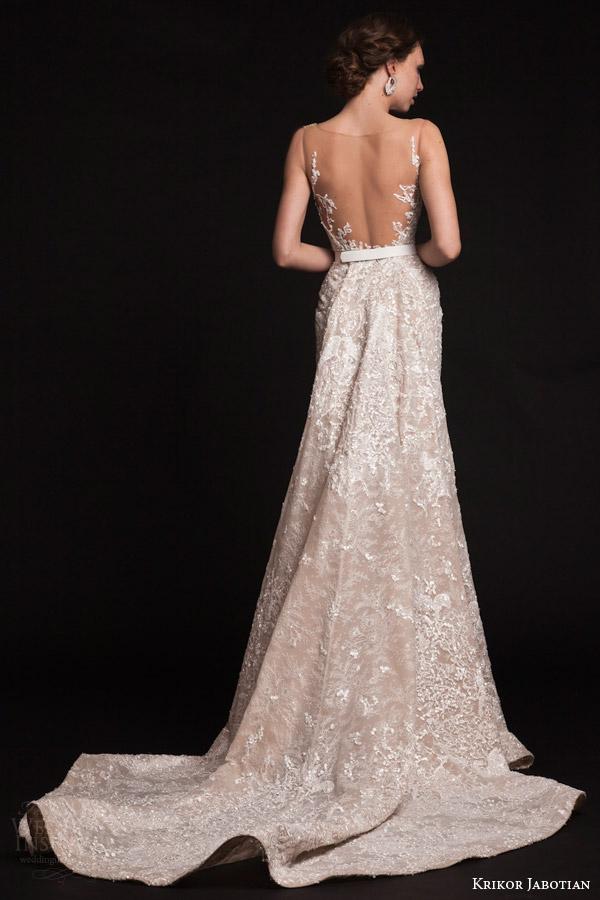 krikor jabotian bridal spring 2015 sleeveless column wedding dress illusion neckline train back view