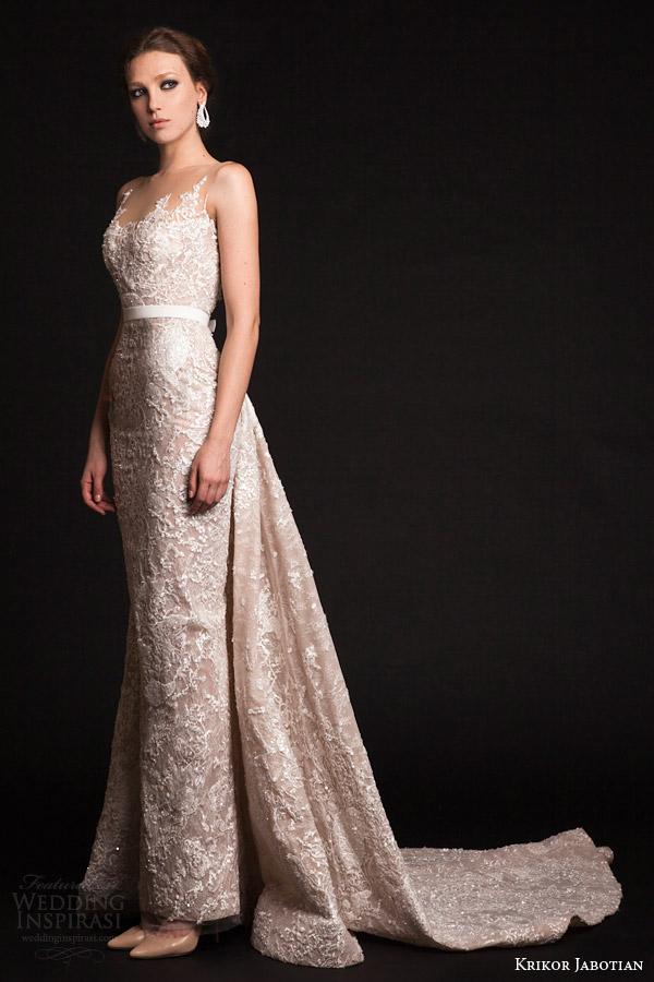 krikor jabotian bridal spring 2015 sleeveless column wedding dress illusion neckline train