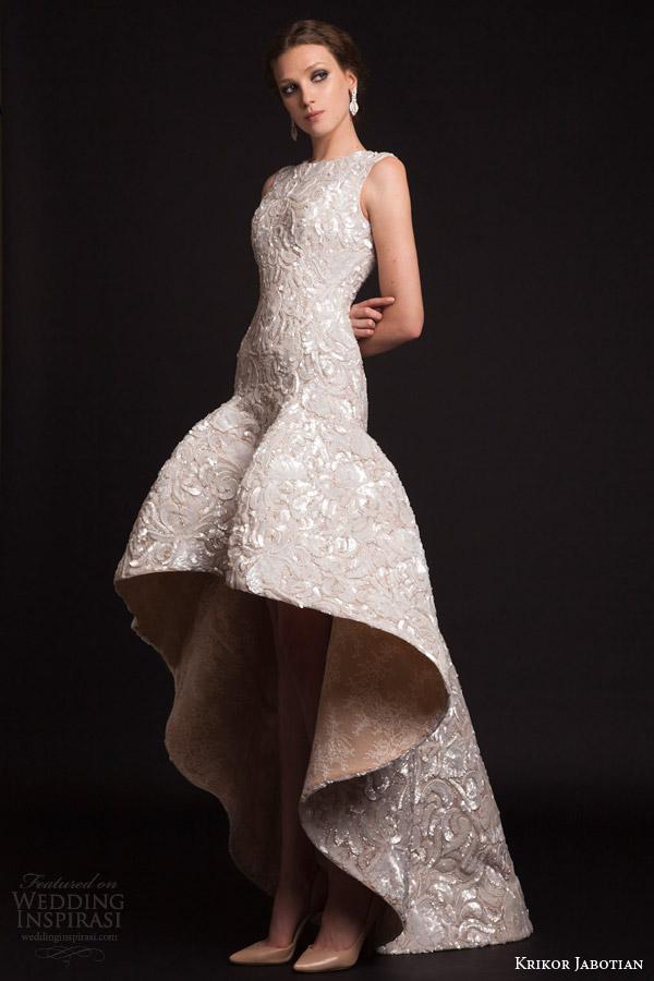 krikor jabotian bridal spring 2015 sleeveless high to low drop waist wedding dress front view