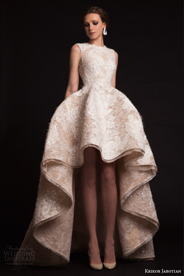 krikor jabotian bridal spring 2015 sleeveless high to low wedding dress