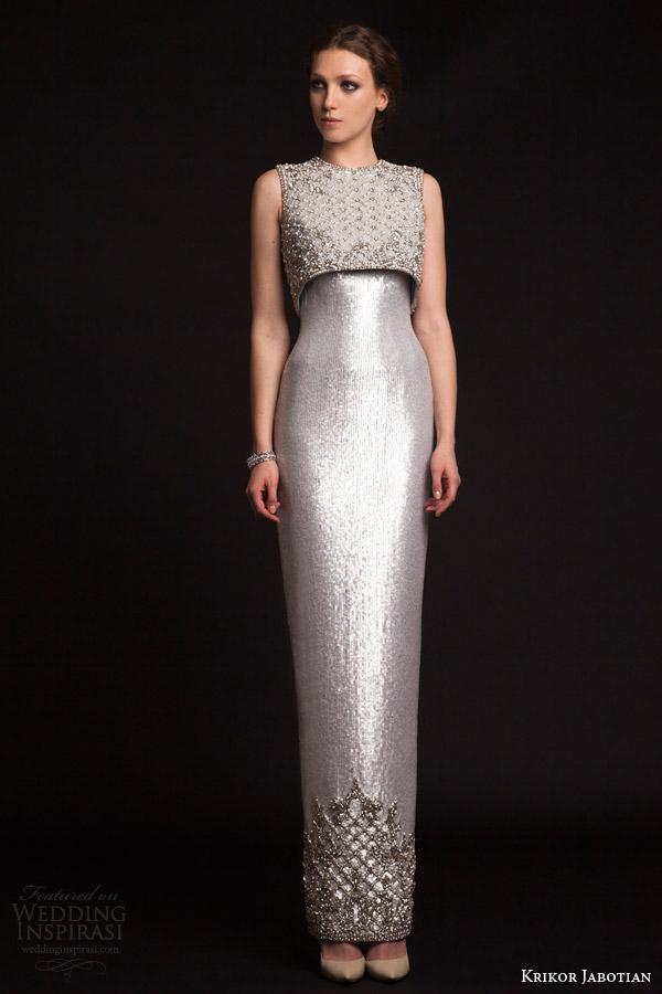 krikor jabotian bridal spring 2015 sleeveless metallic column gown crop top