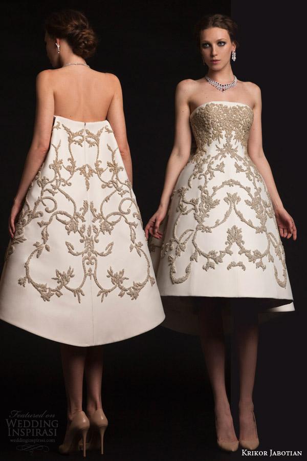 krikor jabotian bridal spring 2015 strapless short dress metallic embroidery