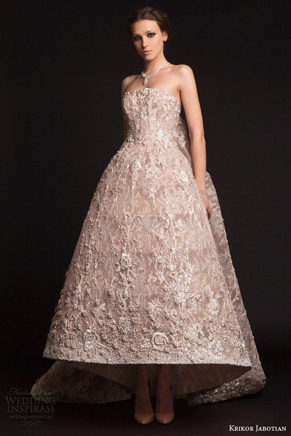 krikor jabotian bridal spring 2015 strapless tea length gown train