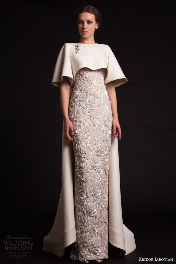 krikor jabotian spring 2015 half sleeve cape column embroidered dress