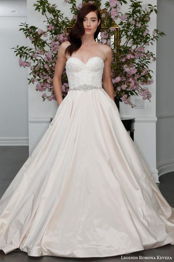 Legends Romona Keveza Spring 2016 Bridal L6109 Strapless Sweetheart Silk Shantung Tafetta Ball Gown Wedding Dress