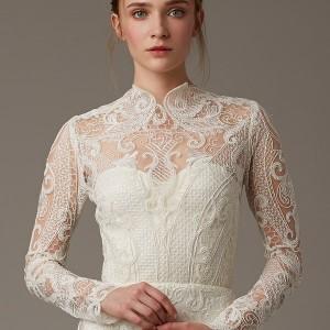 lela rose bridal spring 2016 the birchwood illusion neckline long sleeve lace wedding dress high neck threadwork detail