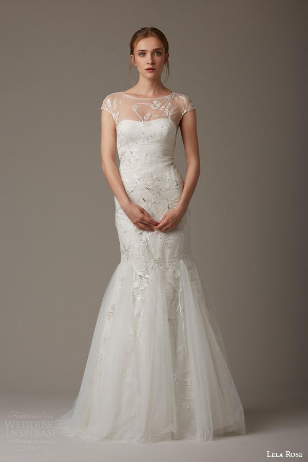Lela Rose Bridal Spring 2016 The Wishing Well Illusion Cap Sleeve Wedding Dress Godet Mermaid Skirt