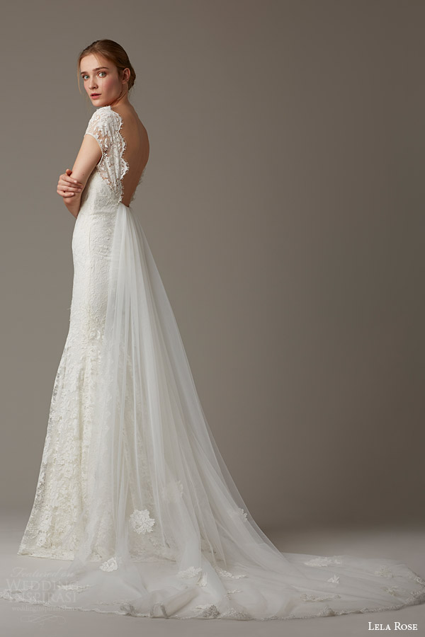 lela rose bridal spring 2016 the woodlands cap sleeve lace wedding dress shown with train scalloped