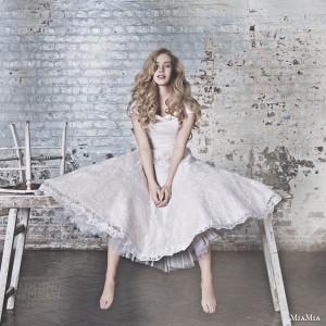 miamia bridal campaign 2015 suki tea length lace dress pale pink color