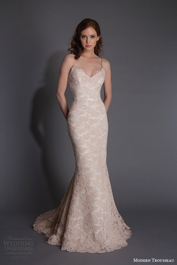 Modern trousseau spring 2016 alice colored lace sleeveless wedding