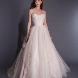modern trousseau spring 2016 evelie strapless pale pink wedding dress sweetheart neckline