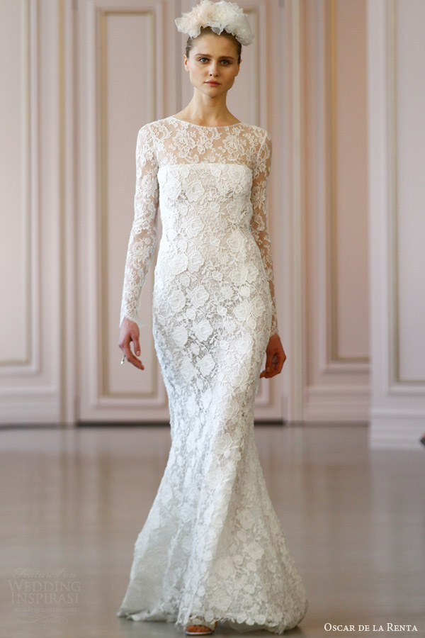 oscar de la renta bridal spring 2016 illusion neckline long sleeves corded macrame floral chevron lace wedding dress ruffle back