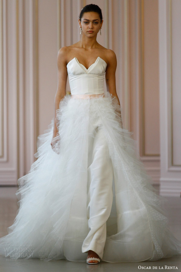 oscar de la renta bridal spring 2016 strapless silk faille column wedding dress point d esprit ruffle over skirt