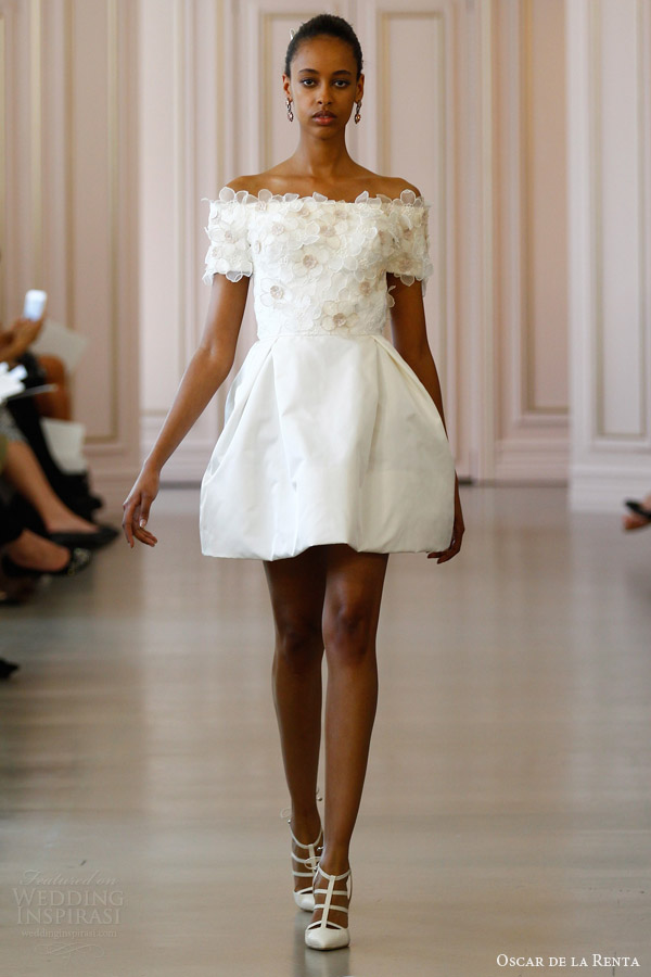 oscar de la renta spring 2016 blush white floral embroidered organza short cocktail dress white silk radzimir skirt