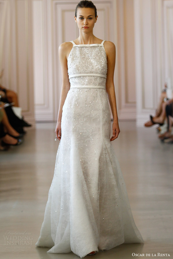 oscar de la renta spring 2016 bridal chantilly lace wedding dress crystal sequin embroidery adzimir belt