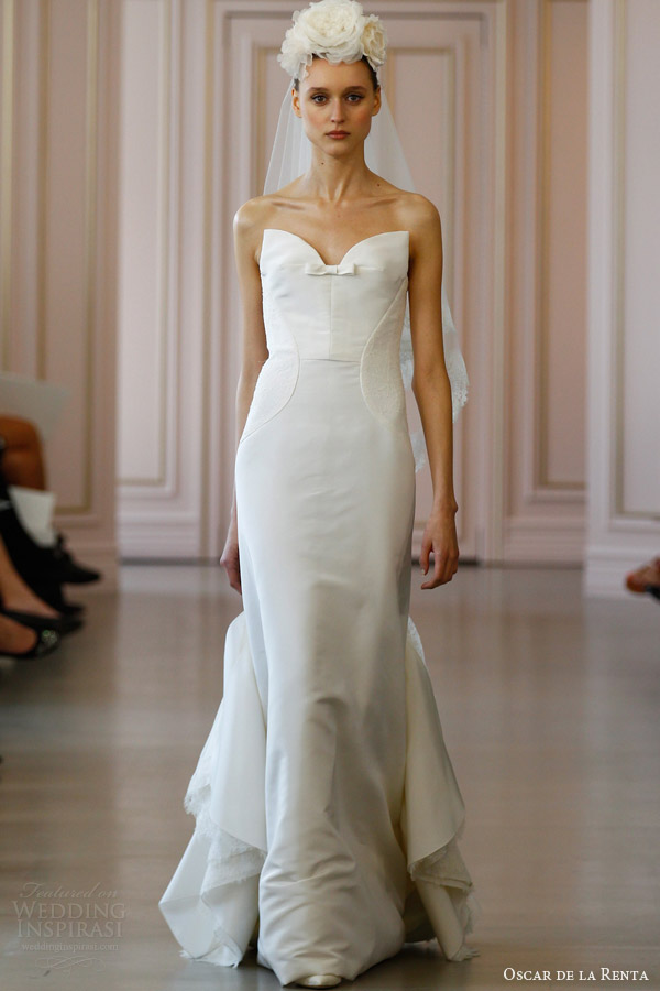 oscar de la renta spring 2016 bridal silk faille trumpet wedding dress cascade lace back