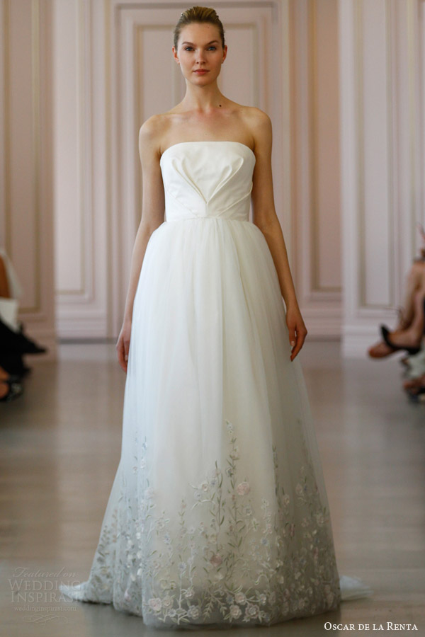 oscar de la renta spring 2016 bridal silk radzimir tulle ball gown wedding dress pastel floral embroidered hem