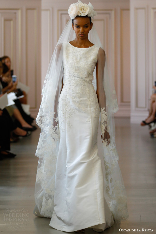 oscar de la renta spring 2016 bridal sleeveless silk faille trumpet wedding gown floral lace embroidery