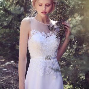 tamara bridal 2015 sleeveless wedding dress illusion neckline lace bodice belt a line close up