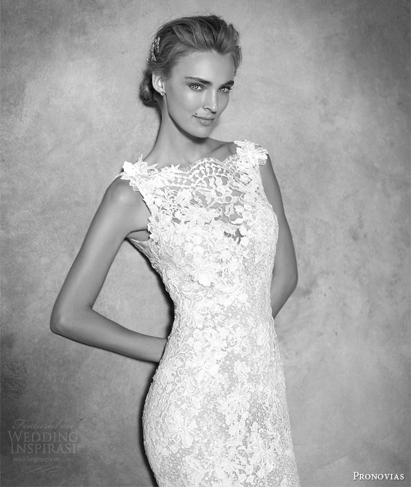 Atelier Ovias Haute Couture Bridal Ilari Sleeveless Lace Guipure Gemstone Mermaid Wedding Dress Close Up