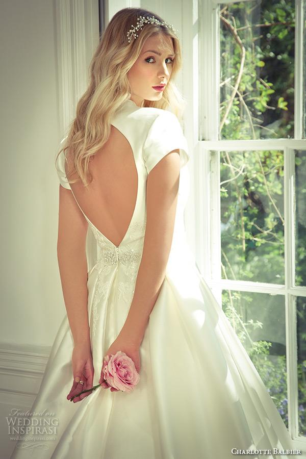 charlotte balbier 2016 bridal cap sleeves v neckline a line wedding dress tarron with keyhole back