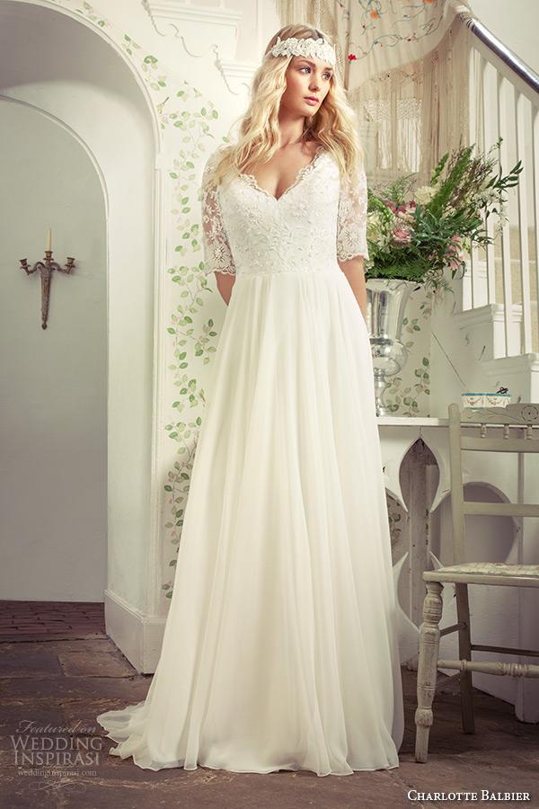 charlotte balbier 2016 bridal lace half sleeves v neckline white wedding dress maud