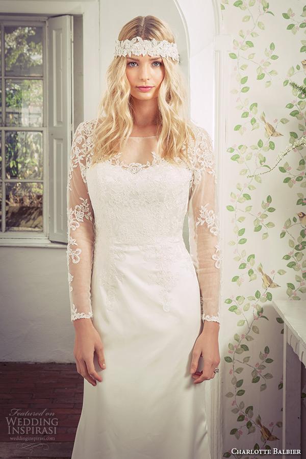 charlotte balbier 2016 bridal lace sheer sleeves illusion bateau neckline white sheath wedding dress loveday