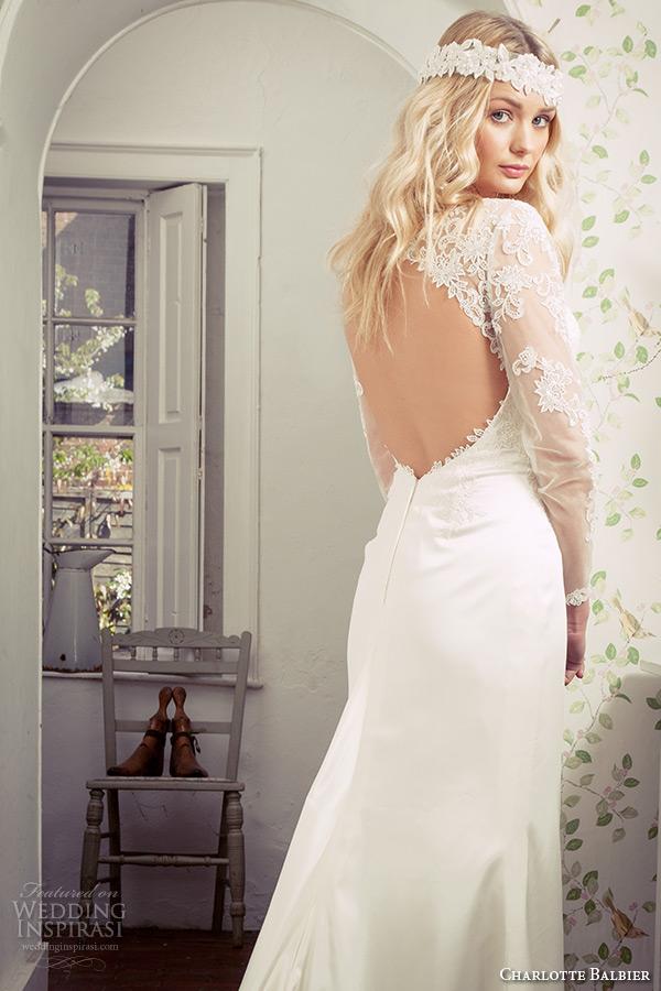 charlotte balbier 2016 bridal lace sheer sleeves illusion bateau neckline white sheath wedding dress with keyhole back loveday