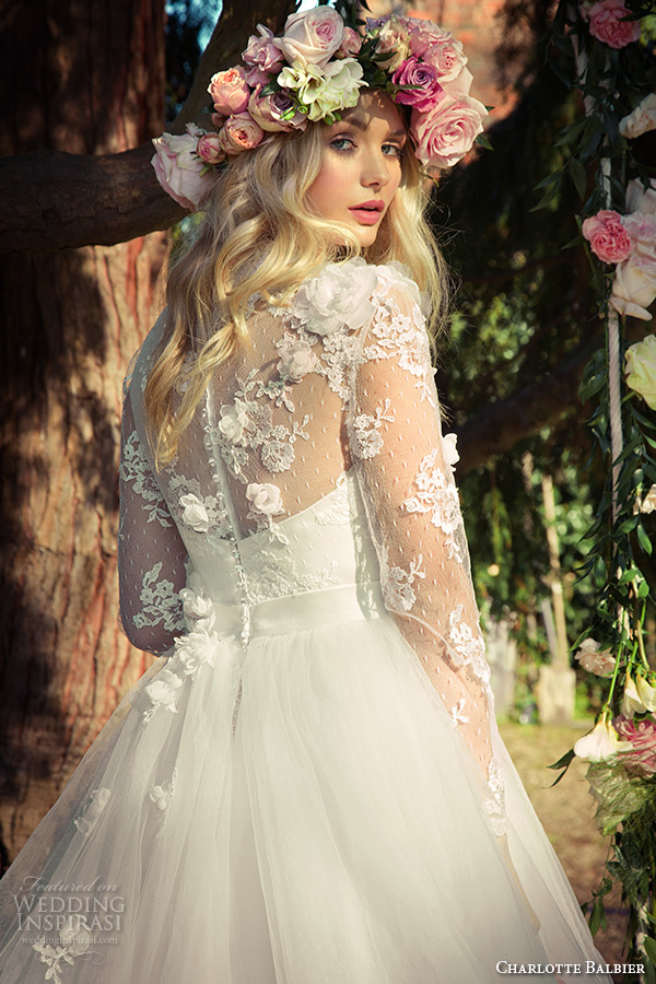 charlotte balbier 2016 bridal lace sheer sleeves sweetheart neckline white a line wedding dress lilac back zoom