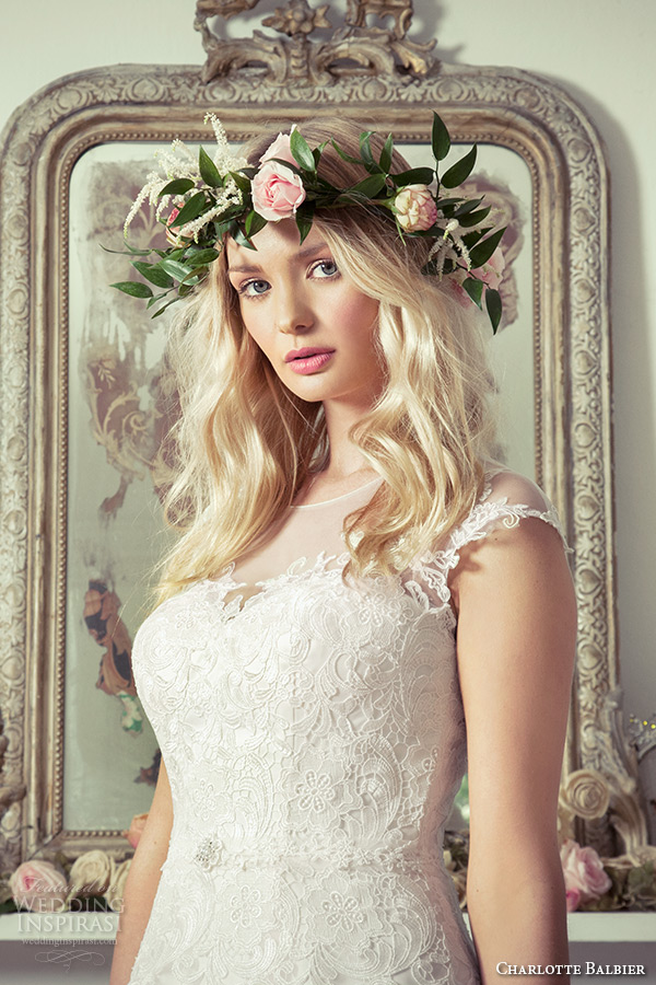 charlotte balbier 2016 bridal sheer bateau neckline cap sleeves tulle blush a line wedding dress lainey zoom