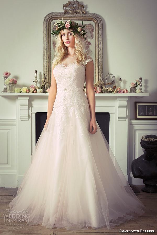charlotte balbier 2016 bridal sheer bateau neckline cap sleeves tulle blush a line wedding dress lainey