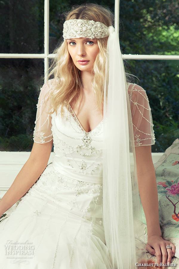 charlotte balbier 2016 bridal v neck illusion short sleeves fit to flare wedding dress cara zoom 2
