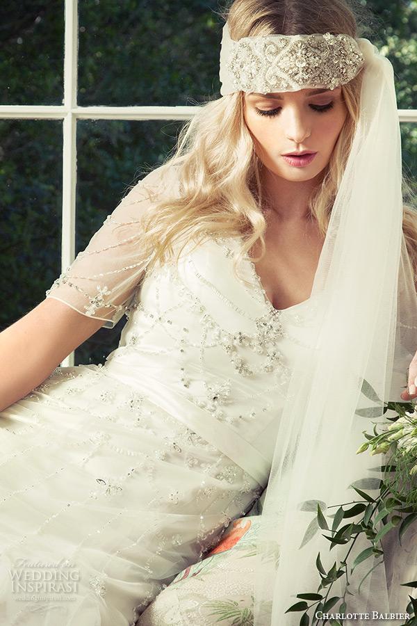charlotte balbier 2016 bridal v neck illusion short sleeves fit to flare wedding dress cara zoom
