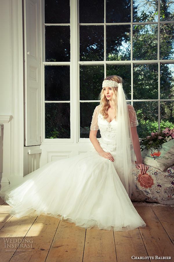 charlotte balbier 2016 bridal v neck illusion short sleeves fit to flare wedding dress cara