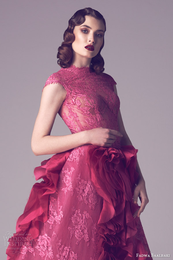 fadwa baalbaki couture spring 2015 rose colored lace cap sleeve ball gown dress close up bodice