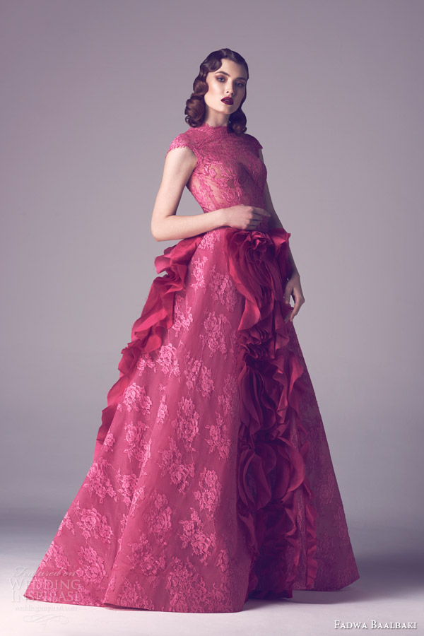 fadwa baalbaki couture spring 2015 rose colored lace cap sleeve ball gown dress