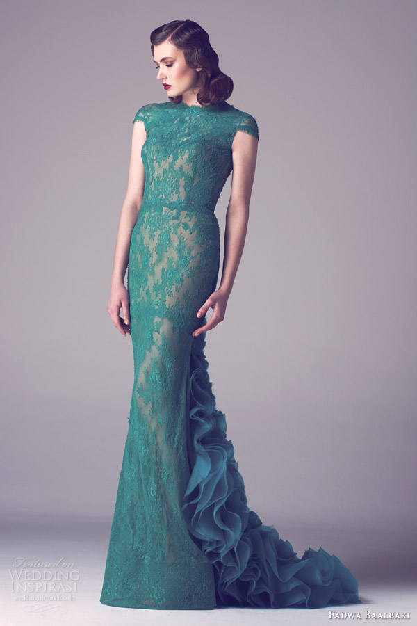 fadwa baalbaki spring 2015 couture cap sleeve green colored lace gown ruffle back train
