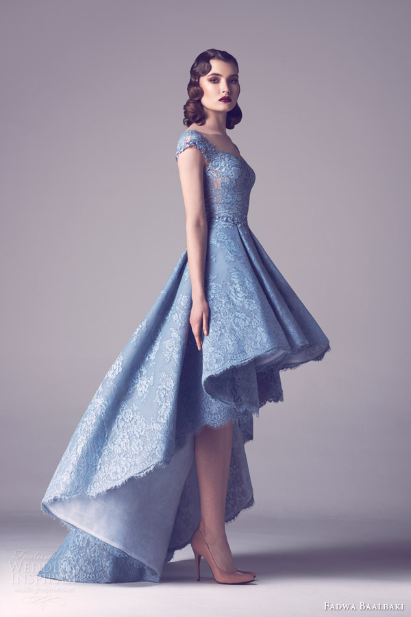 fadwa baalbaki spring 2015 couture cap sleeve lace wedding dress light blue