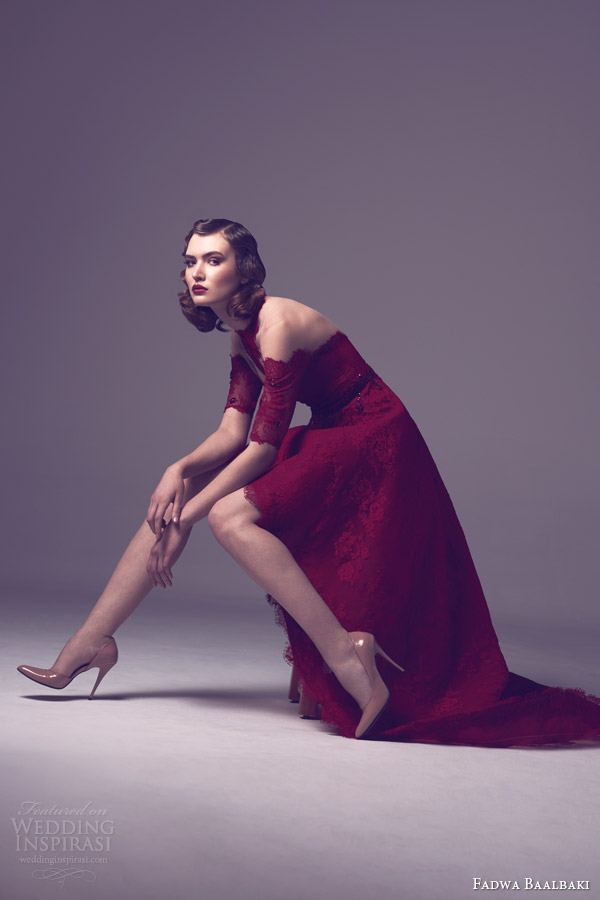 fadwa baalbaki spring 2015 couture deep red half sleeve lace dress high low skirt side view