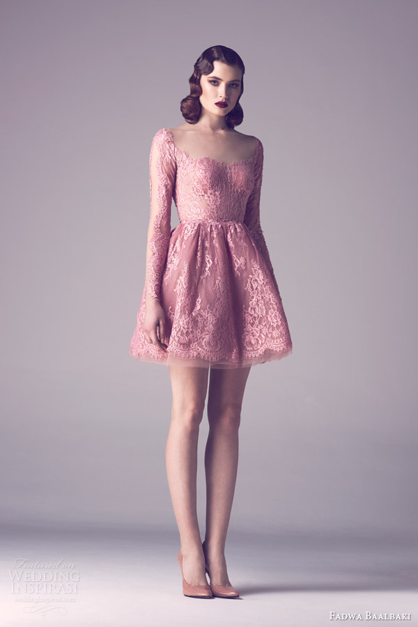 fadwa baalbaki spring 2015 couture long sleeve pink lace dress