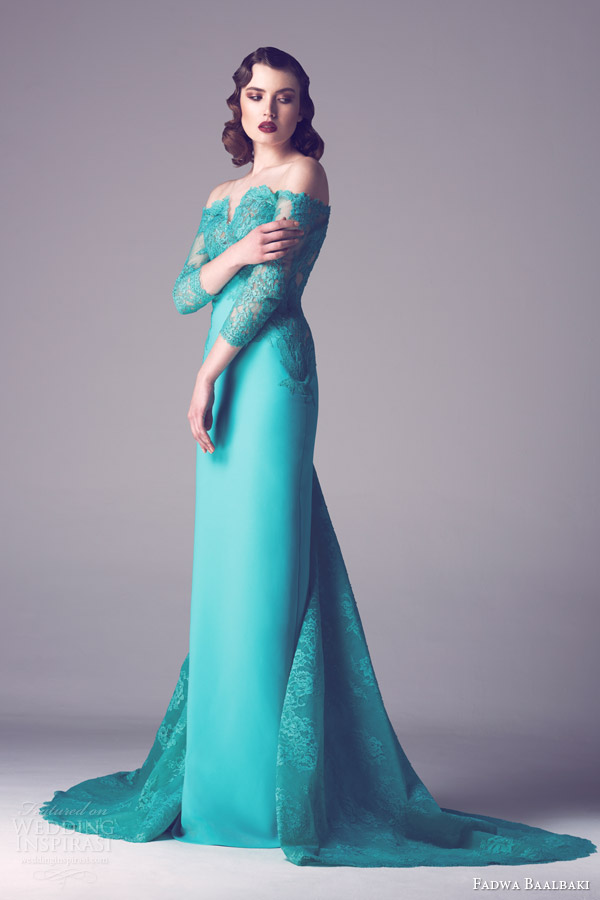 fadwa baalbaki spring 2015 couture off shoulder lace bodice gown
