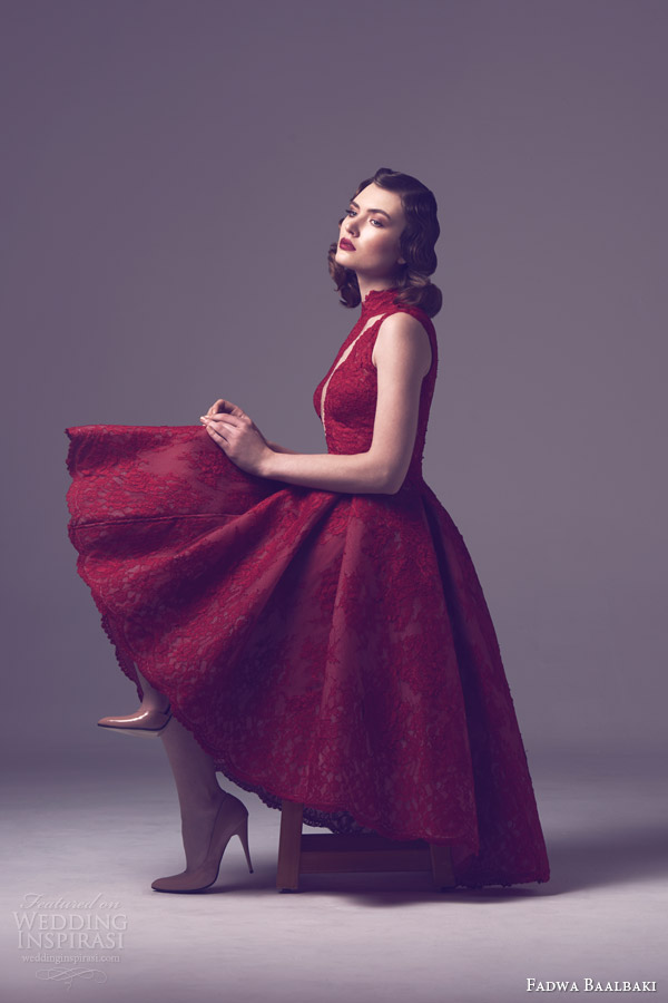 fadwa baalbaki spring 2015 couture sleeveless red lace dress asymmetric skirt side view