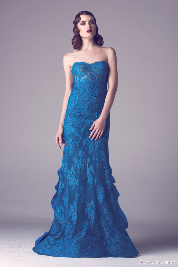 fadwa baalbaki spring 2015 couture strapless blue lace gown ruffle back train
