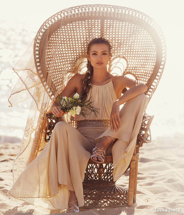 free people bridal 2015 fpeverafter kristal s silk chiffon one piece pleated bodice wide pant