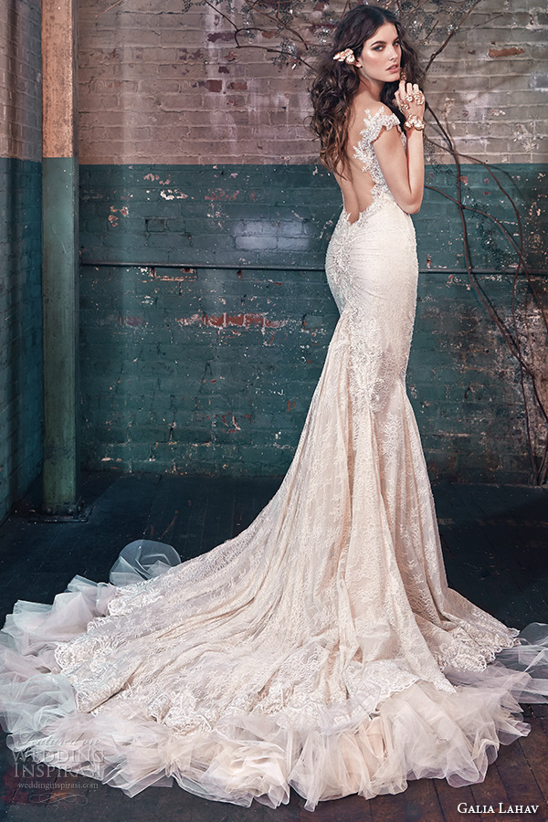galia lahav spring 2016 bridal dresses off the shoulder low scoop neckline embroidered beaded vintage mermaid wedding dress blossom back view