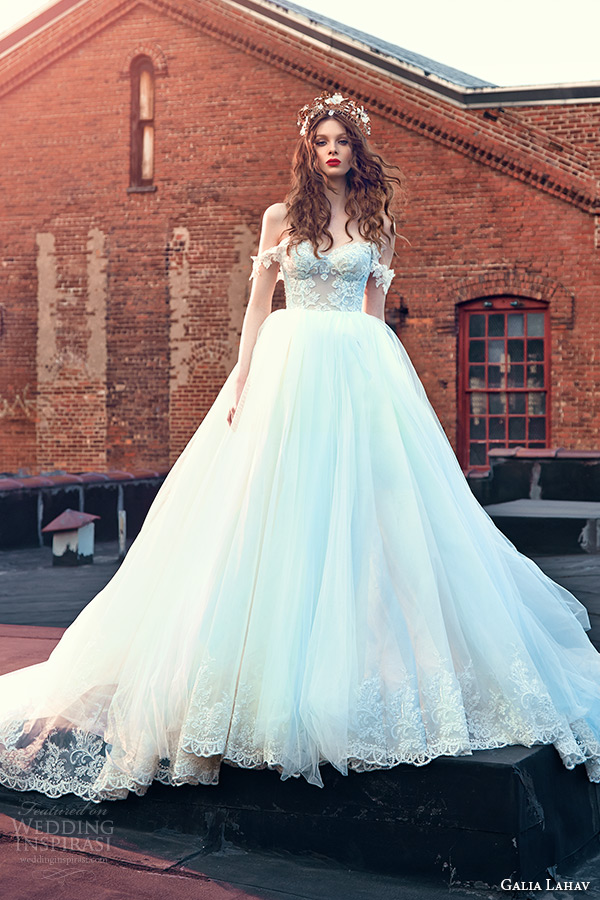 Galia Lahav Spring 2016 Bridal Dresses Off The Shoulder Sweetheart Neckline Corset Emebroidered Bodice Wedding Ball