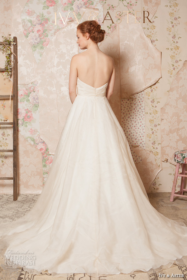 ivy and aster spring 2016 bridal crumb catcher neckline ivory champagne a line wedding dress with pockets back view