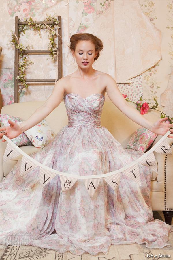 ivy and aster spring 2016 bridal deep v neck plunging neckline pink floral a line wedding dress 2